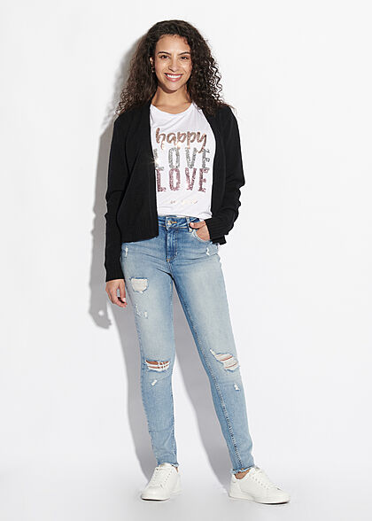 Seventyseven Lifestyle Dames Casual T-Shirt Happy Love wit