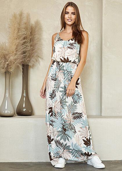 Styleboom Fashion Dames V-Neck Maxi Jurk Tropical Print oatmeal beige multicolor