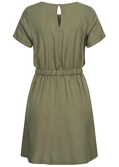 Seventyseven Lifestyle Dames Viscose Mini Jurk 2-Pockets groen