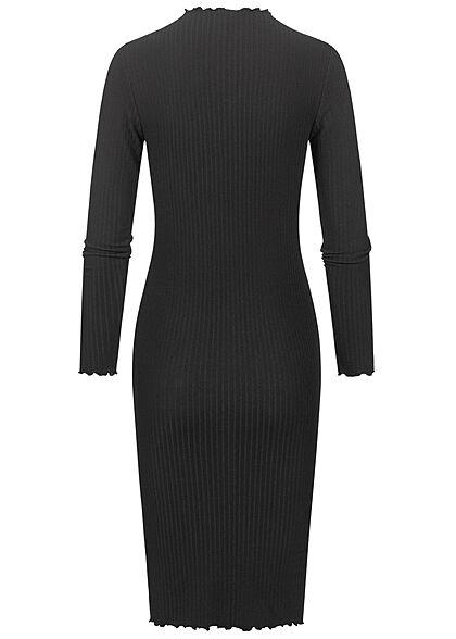ONLY Damen Ribbed High-Neck Midi Kleid mit Frilldetails am Saum schwarz