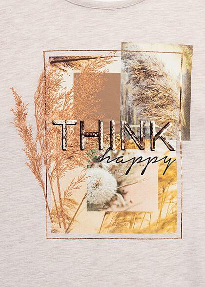 Hailys Dames T-Shirt Think Happy Print beige melange
