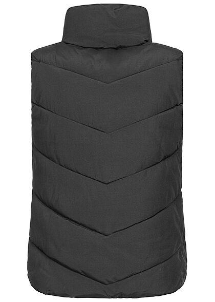 JDY by ONLY Damen Steppweste mit Stehkragen 2-Pockets schwarz